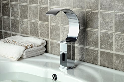 Tall Contemporary Chrome Bathroom Vessel Sink Faucet: YAJO Modern Waterfall Touch-Free Automatic DC Power